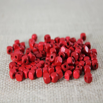 Red Wood Square Spacer Bead Small Wood Cube Beads 16mm