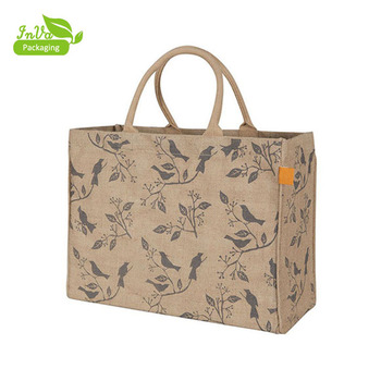 natural jute bag whole sale with own logo print jute promotional bag