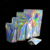 MOQ 500 clear hologram foil stand up zipper pouch bag with ziplock 110x160+60 mm