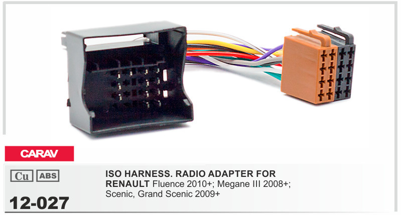 CARAV 12 027 ISO Radio Adapter For RENAULT Fluence;Megane III ;Scenic,Grand on