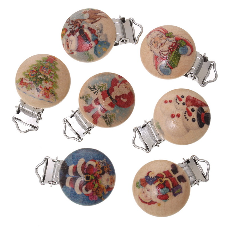 New 5Pcs Random Mixed Round Christmas Wooden Baby Pacifier Clips Holder Clasps Soother Baby Care 4.4x3cm