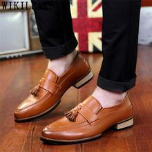 Итальянская Свадебная обувь; мужские деловые лоферы; Мужские модельные туфли; кожаная брендовая Классическая обувь; Мужские Элегантные сли...(China)