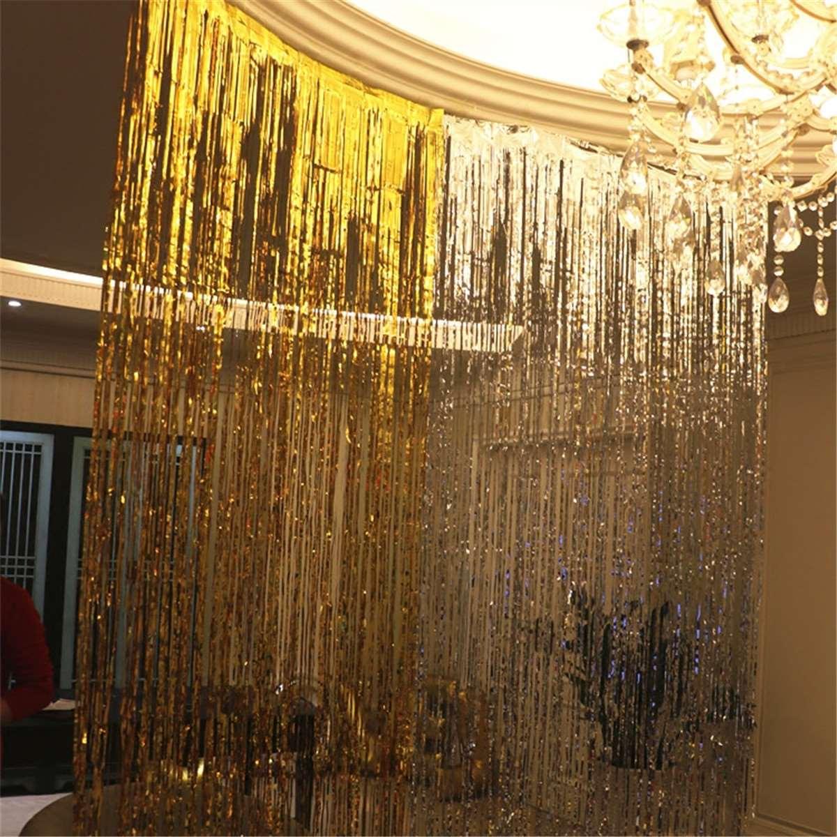 Glitter Plastic Metallic Foil Tinsel Curtain Fringe Events