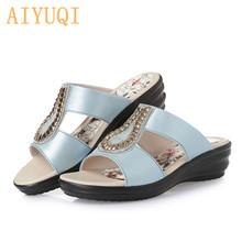 AIYUQI/летние женские шлепанцы; Однотонные металлические туфли с декором; Удобные женские туфли на танкетке для мам; 4 цвета(Китай)
