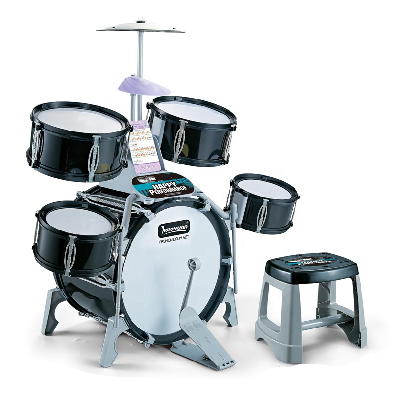 Educational Musical Instrument Toys Plastic Drum Toys Kids Performer Happy Jazz Drum Set With Cards