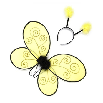 Bumble Bee style fairy nylon butterfly wings and headpiece set kids party costume
