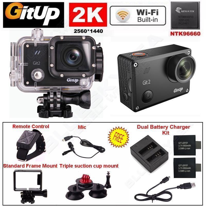 Бесплатная доставка! 2 К Wi-Fi Gitup Git2 Pro Автомобильный Спорт Действий Камеры + Control + Микрофон + Зарядное Устройство Батареи комплекты