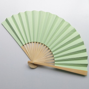 I AM YOUR FANS 9 inch 23X40CM bamboo handle light blue paper fan