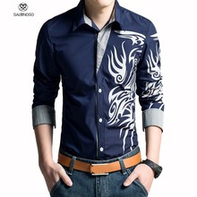 2015 Brand Men Shirt Dragon Printing Slim Fit Casual Shirt White Mens Dress Shirts Casual Shirts Long Sleeve S XXXL camisas