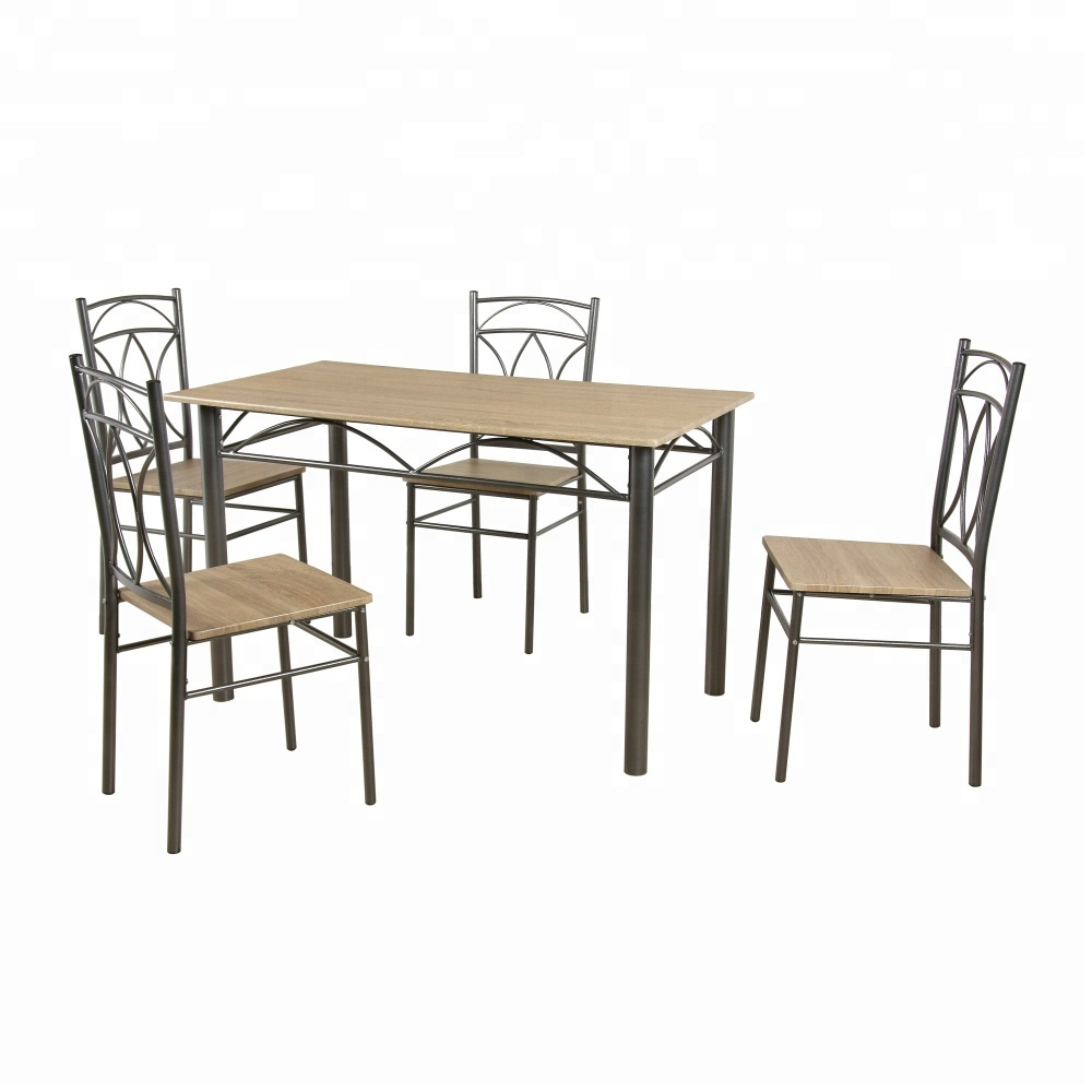 Metal Dinning Room Set Luxury Furniture Wooden Top Dining Table ...