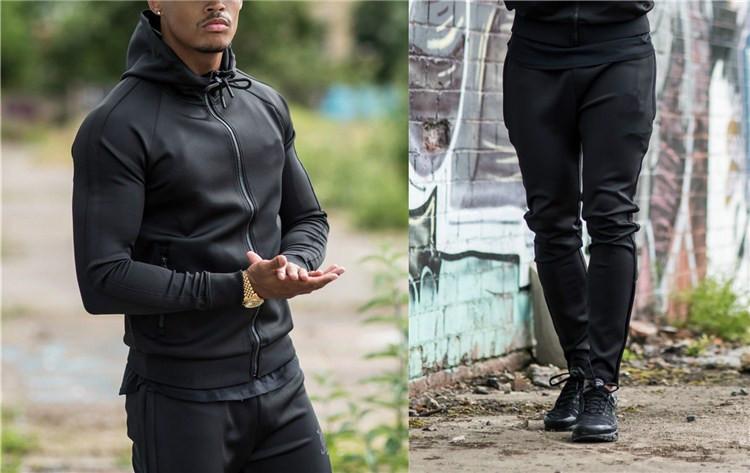 Men's Fleece Jacket and Joggers Pants Sweat Track Suit / Plain Sweat Suits Men Jogger Sweatpants / Cheap Mens Hoody Sports Suit