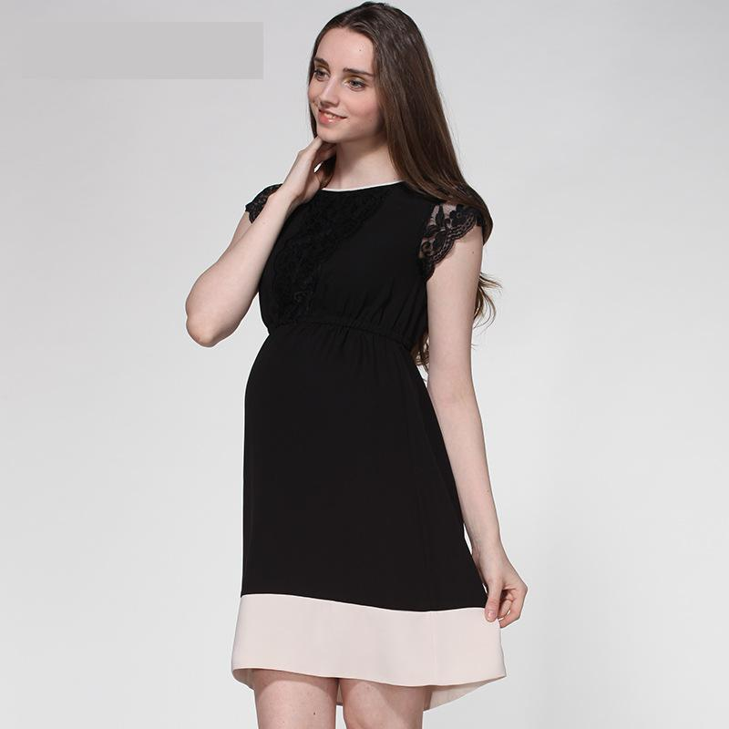 Spring Summer New Pregnant Woman Maternity Dress Clothing Clothes Beauty Lace Stitching Color Large Size