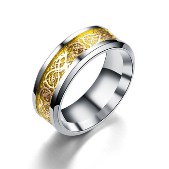 8mm Celtic dragon black gold inlay tungsten carbide ring
