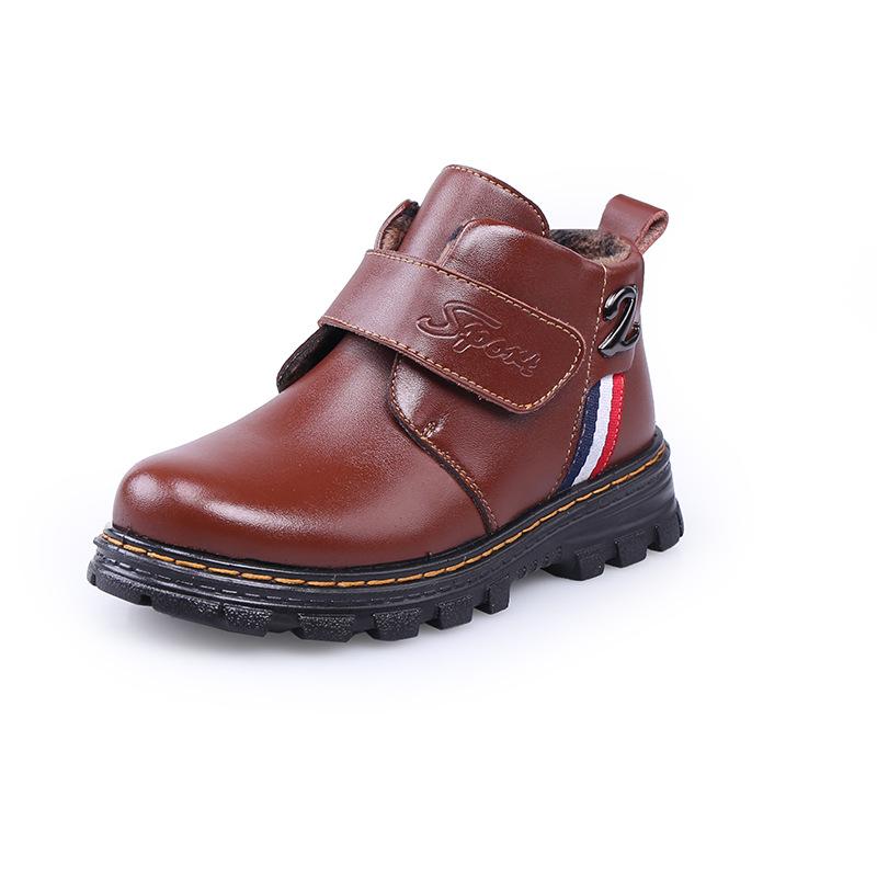 New Genuine Leather Boys Boots Winter Kids Waterproof Snow