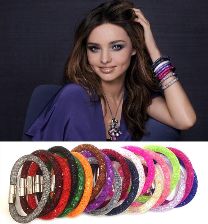 15 цветов мода шарм звездной пыли браслет кристалл браслет браслеты браслет обруча для женщин