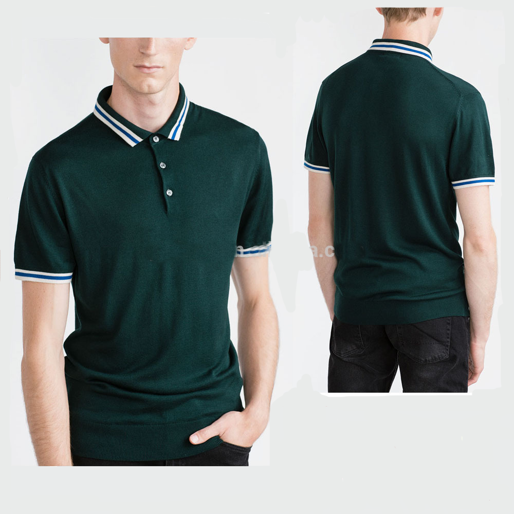 Wholesale Contrasting Piping Polo Shirts With Three-button Fastening Plain Color Dark Green Polo Shirts - Buy Wholesale Men's Contrasting Piping Polo ...