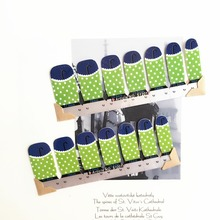 Country Style Green Dots Nail Arts Stickers 14 pcs set Full Tape Patch Waterproof Foils Decals