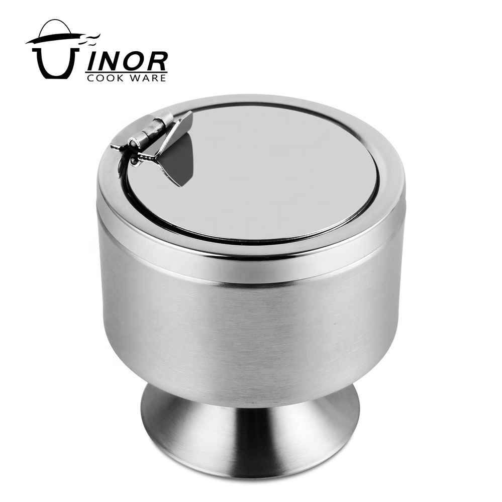 Wholesale Windproof Stainless Steel Ashtray With Lid And Stand