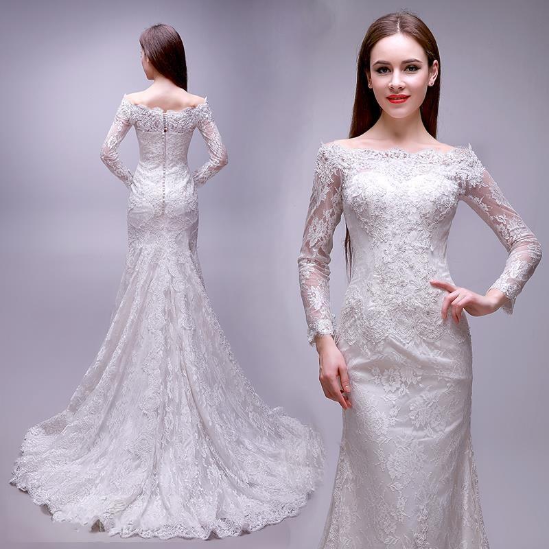 Boat Neck Long Sleeve Wedding Dresses 2016 Elegant Beaded: 2016 Elegant Long Sleeve Floor Length Mermaid Wedding