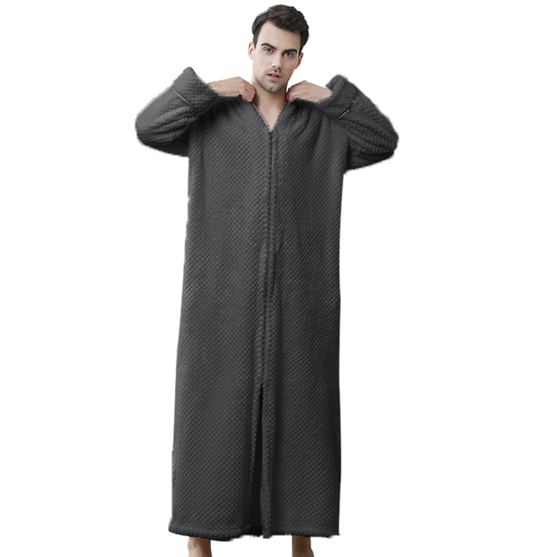 2019 Wholesale Cheap Sell Best Zipper Hotel And Home Flannel Adult Lovers Bathrobe