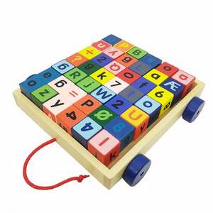 ML-0097a 42pcs multifunctional intelligence wooden educational toys digital&letter wooden block car