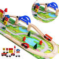 BP1511163 40pcs Wooden Electric MiniTrain Toys Set for Children Rail Slot Trains Boy Friends Brinquedos Track