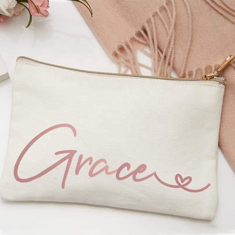 Высококачественная индивидуальная Экологически чистая косметичка, холщовая косметичка, Хлопковая сумка на молнии с пользовательским логотипом