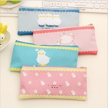 Kawaii Cartoon Sheep Pencil case Printing canvas zipper pen bag Colorful Stationery Pouch Gift office school supplies 4 colors