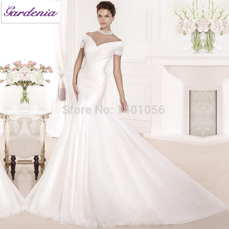 Tulle Overskirt Wedding Dresses Mermaid Bateau Neck Simple: Hot Sale Designers Floor Length Off The Shoulder V Neck
