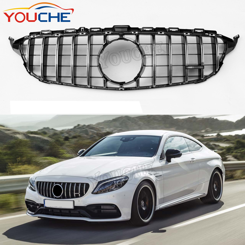 Gt R Style Front Bumper Grille Mesh Hood For Mercedes Benz C Class W205 Sport Edition Silver Without Camera Grill 2015 2018 Buy W205 Gt Front Grille Front Grille For Mercedes C Class