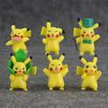 New arrival kawaii 6pcs set pikachu keychain PVC figure toy 4cm