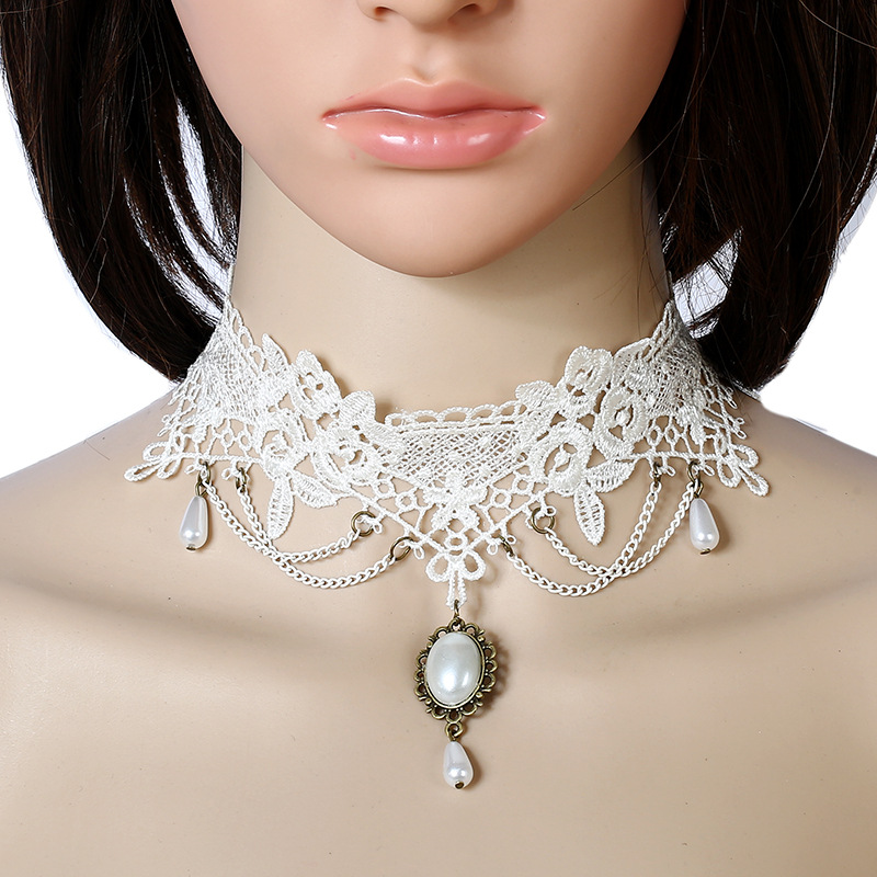 Handmade pearl collar necklace vintage style