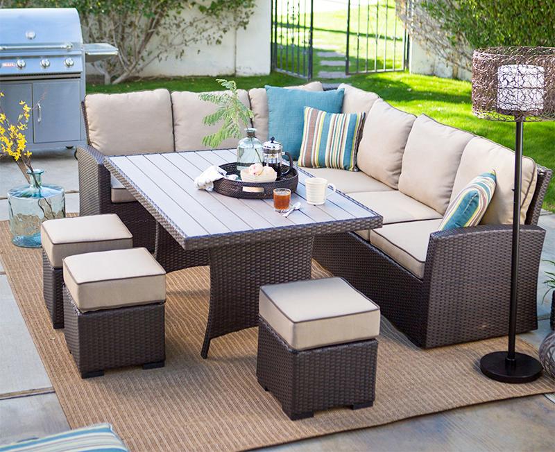Удобная уличная мебель из ротанга для гостиной под заказ, набор диванов