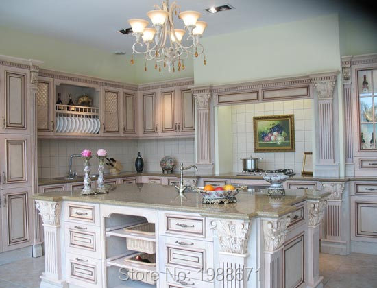 Solid Wood Kitchen Cabinet Arched Pantry Cabinets With