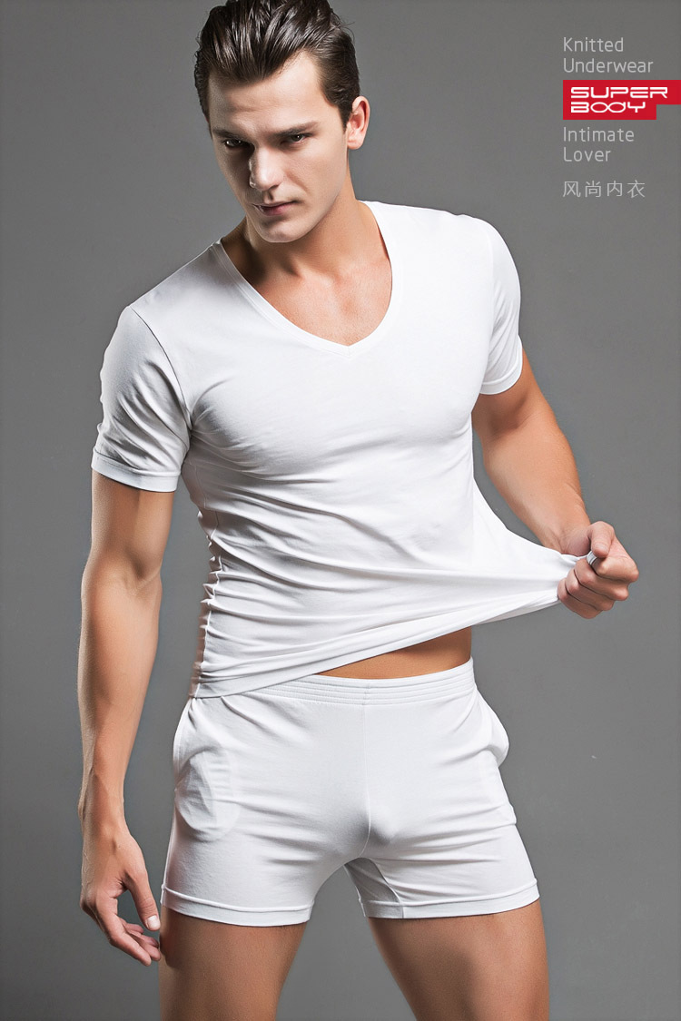 eea5c1d243 Cotton T-shirt Pajama Set Sleepwear Sexy Mens Underwear Tees Undershirts  Tshirts Brand Superbody Casual Short Sleeve Boxers