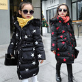 2016 Winter Star Girls Coats Long Cotton Jackets Hooded Faux Fur Collar Children Baby Clothes Thick