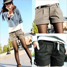 2014 autumn and winter women's turn-up straight woolen bootcut short pants plus large big size casual shorts black grey F3317