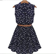 2015 new women  Cat footprints pattern Show thin Shirt dress with Belt
