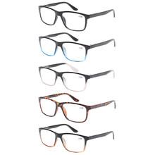 5 шт. в упаковке, ретро Прямоугольная оправа, очки для чтения для мужчин и женщин, весенние шарнирные качественные очки, от 0,5 до 6,0(Китай)
