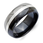 Titanium Black Ti ring With Sterling Silver Inlay 9mm Polished ring
