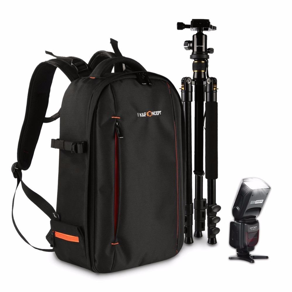 К & F Концепция Вспышка Speedlite Камеры Мешок Камеры Рюкзак Штатив Стенд для Цифровой Камеры DSLR Canon Nikon Sony Ноутбук
