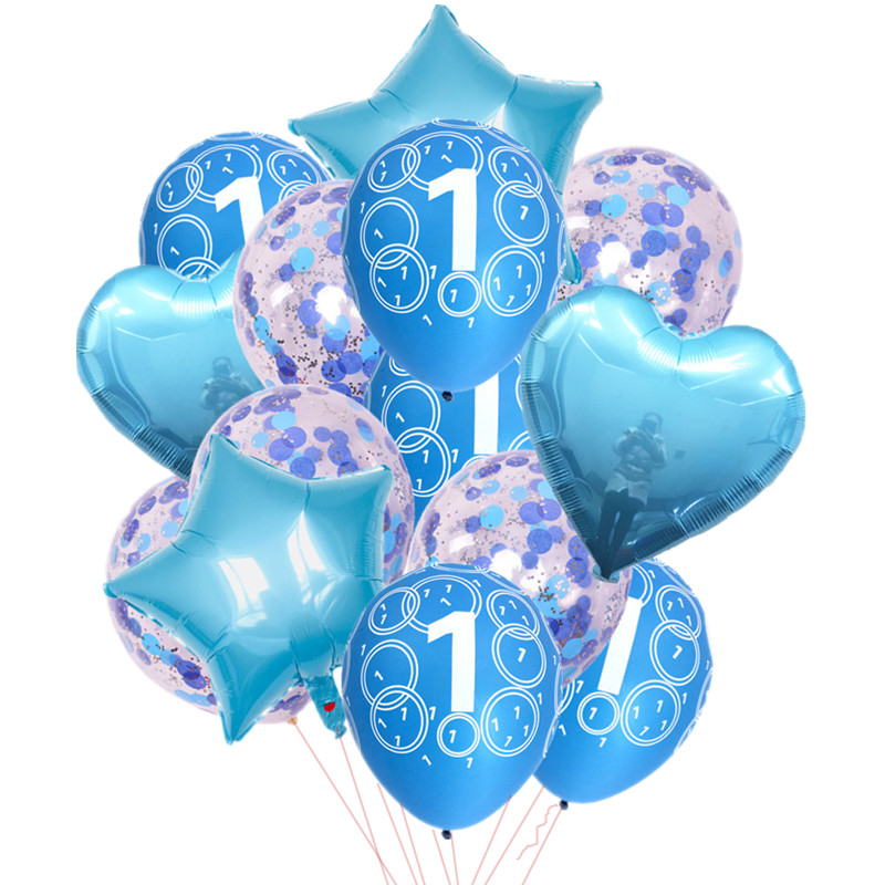 2pcs 18 Inch Star Balloon Heart 5pcs 12 Confetti Latex Pink Blue