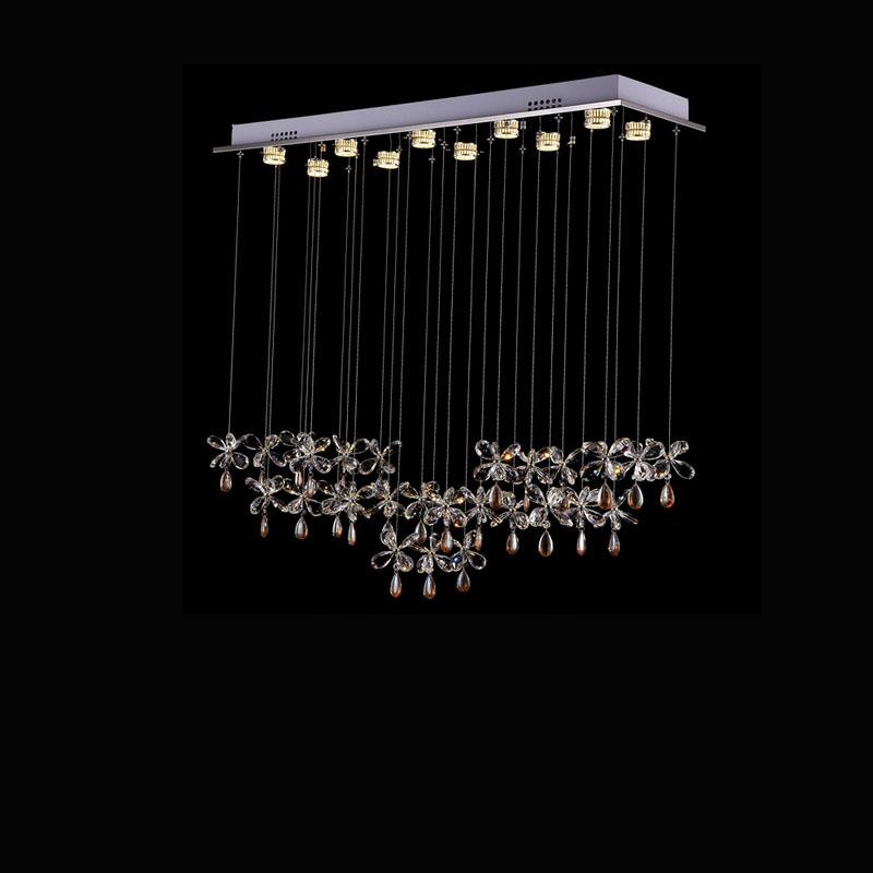 Rectangular Curtain Wave Lustre Led Crystal Chandelier