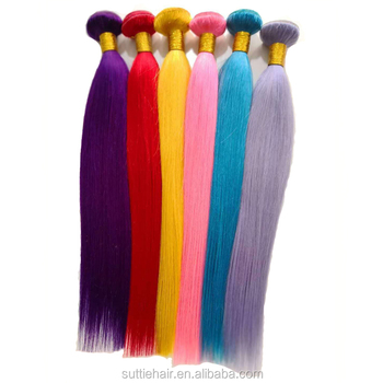 wholesale color human hair ombre straight hair bundles ,brazilian red orange blue yellow green virgin hair bundles with frontal
