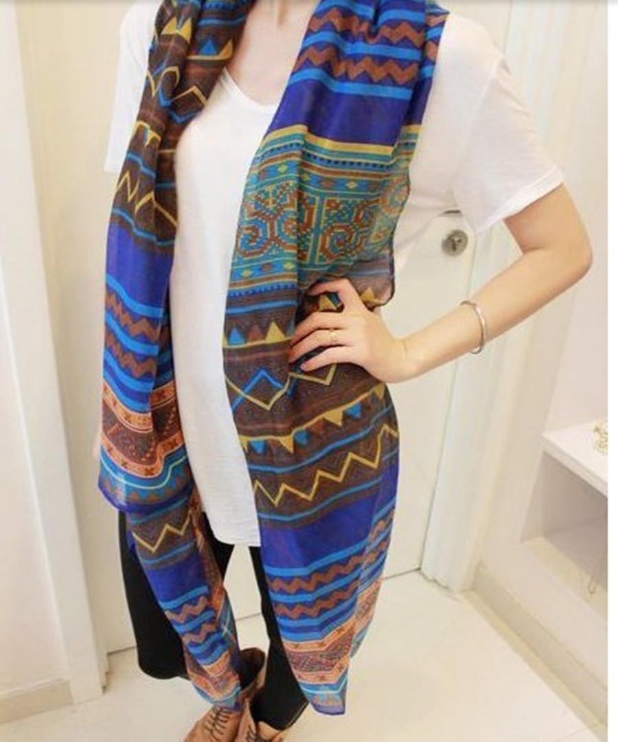 Модный богемный женщины в длинная принт шарф накидка дамы шаль девочка большие довольно шарф