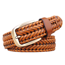 braided belts for men and women high quality 100% genuine leather designer belts 115 125cm brown Hand-woven Strap free shipping