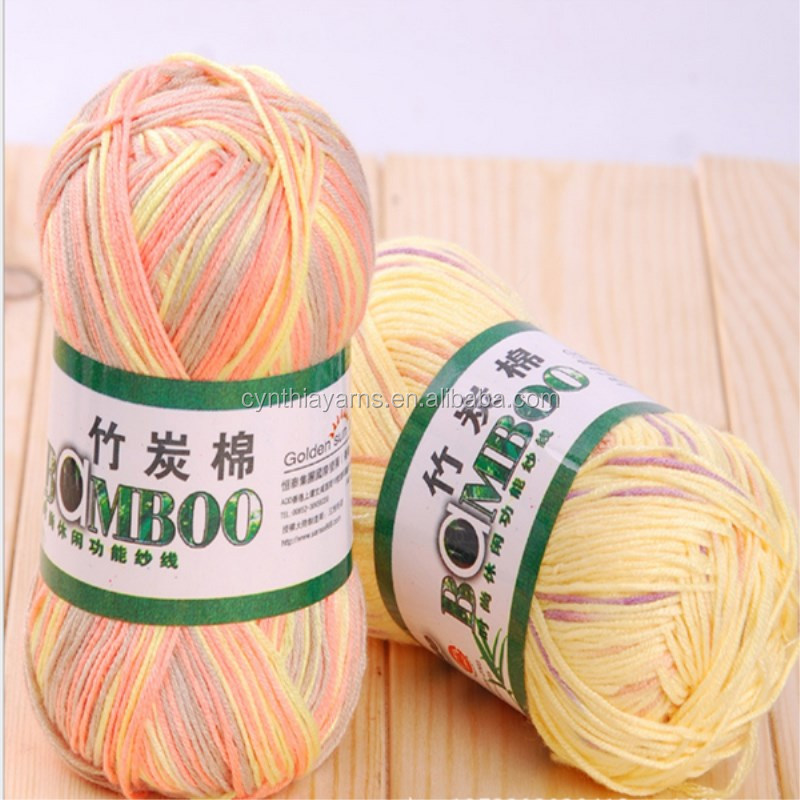 Natural fiber knitting yarn healthy dyed bamboo cotton blended yarn for baby knitting