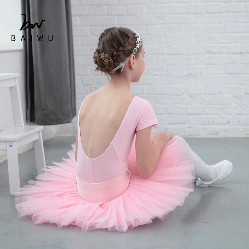 Балетные трико с коротким рукавом и зажимом спереди из 118241027 хлопка для девочек