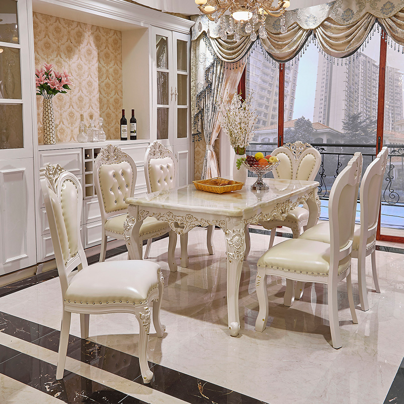 Luxury White Lacquer Silver Gold Stroke Antique French Provincial Dining Room Furniture Marble Wooden Top Table and Chairs Set, View antique french provincial dining room furniture, Hanbang Product Details from Foshan Hanbang