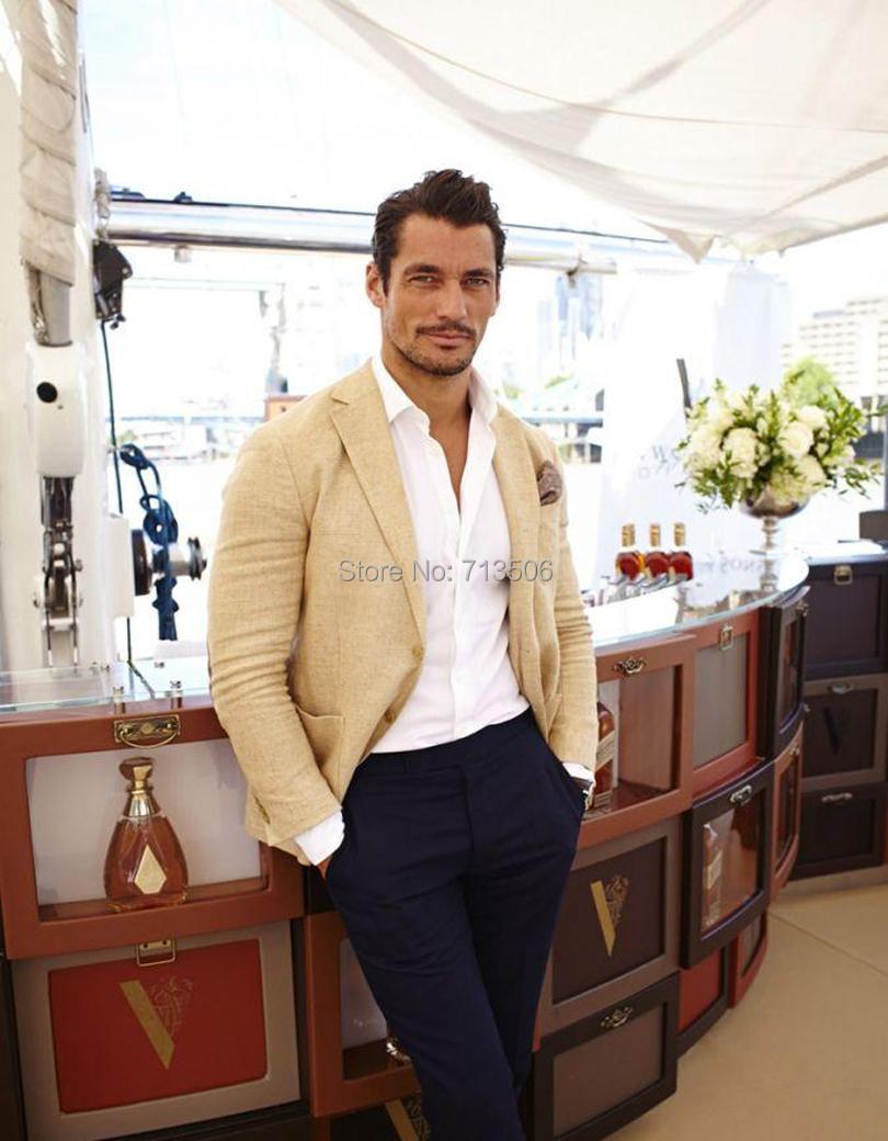 2017 Wholesale 2016 Summer Beige Linen Men Suits Notched Lapel ...